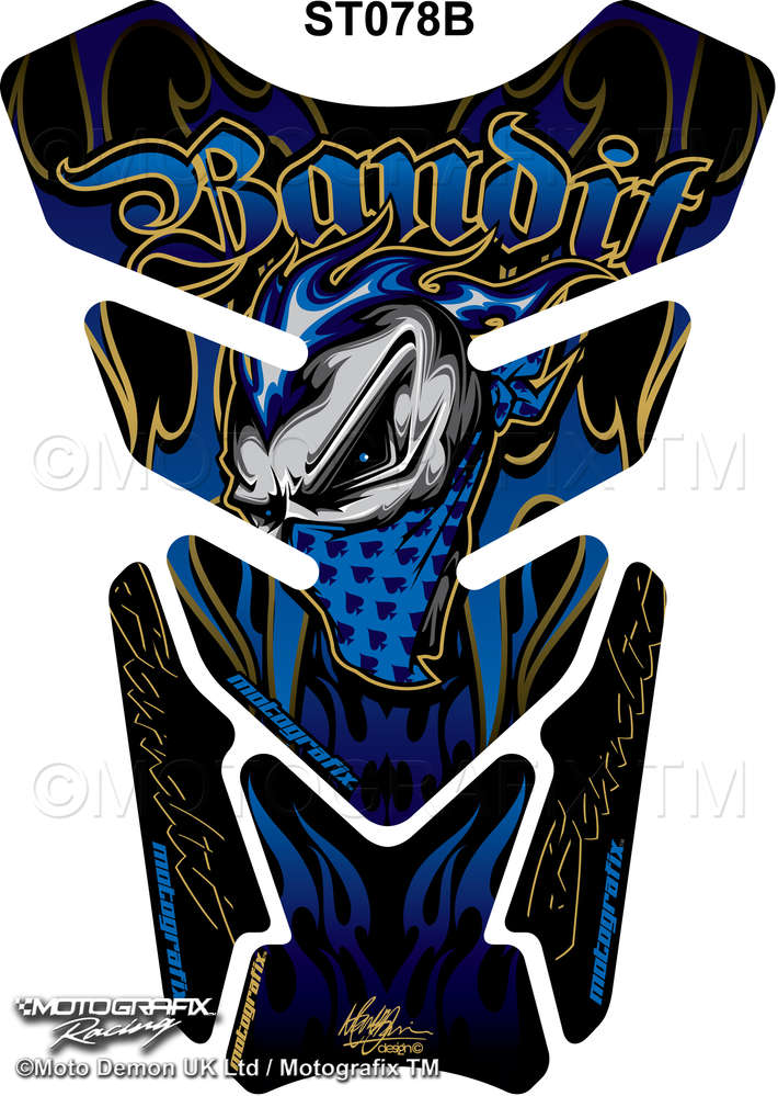 Suzuki Bandit 600 650 1200 1250 Blue Motorcycle Tank Pad Protector Motografix 3D Gel ST078B
