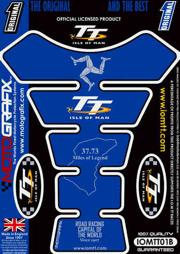 Isle Of Man TT Races Official Licensed Blue Motorcycle Tank Pad Protector Motografix 3D Gel IOMTT0B