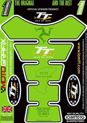 Isle Of Man TT Races Official Licensed Green Motorcycle Tank Pad Protector Motografix 3D Gel IOMTT0G
