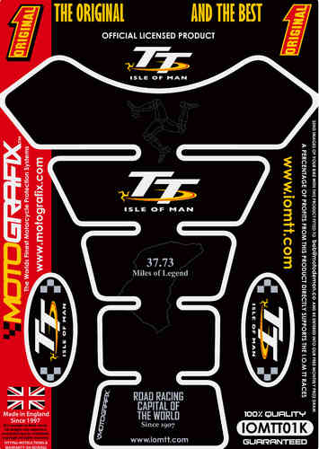 Isle Of Man TT Races Official Licensed Black Motorcycle Tank Pad Protector Motografix 3D Gel IOMTT0K
