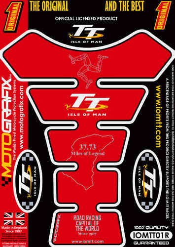 Isle Of Man TT Races Official Licensed Red Motorcycle Tank Pad Protector Motografix 3D Gel IOMTT0R