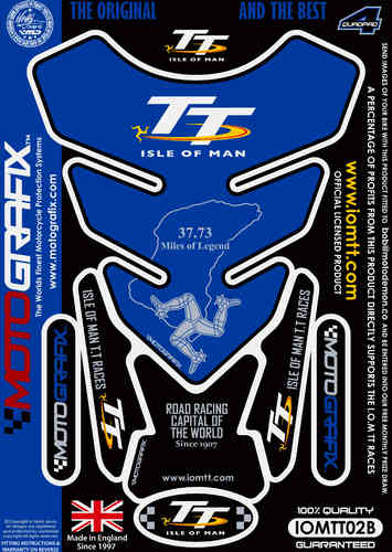 Isle Of Man TT Races Official Licensed Blue Motorcycle Tank Pad Protector Motografix 3D Gel IOMTT02B