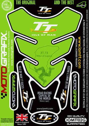 Isle Of Man TT Races Official Licensed Green Motorcycle Tank Pad Protector Motografix 3D IOMTT02G