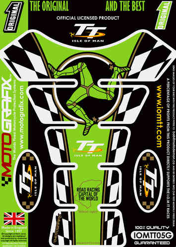 Isle Of Man TT Races Official Licensed Green Motorcycle Tank Protector Motografix 3D Gel IOMTT05G