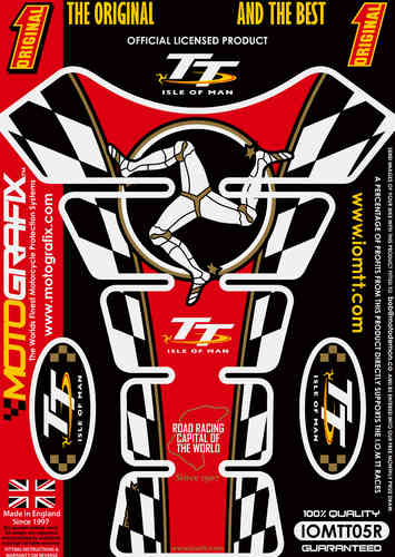 Isle Of Man TT Races Official Licensed Red Motorcycle Tank Pad Protector Motografix 3D Gel IOMTT05R