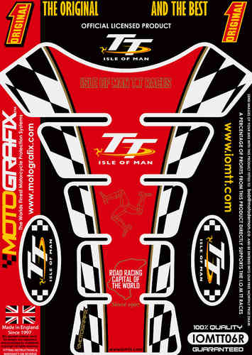 Isle Of Man TT Races Official Licensed Red Motorcycle Tank Protector Motografix 3D Gel IOMTT06R