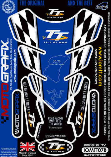 Isle Of Man TT Races Official Licensed Blue Motorcycle Tank Pad Protector Motografix 3D Gel IOMTT07B