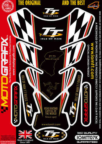 Isle Of Man TT Races Official Licensed Black Motorcycle Tank Protector Motografix 3D Gel IOMTT07K