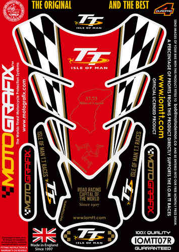 Isle Of Man TT Races Official Licensed Red Motorcycle Tank Pad Protector Motografix 3D Gel IOMTT07R