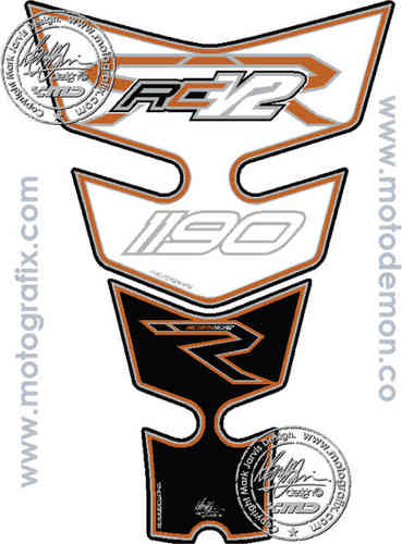 KTM RC8-R 1190 2008 White Factory Motorcycle Tank Pad Protector Motografix 3D Gel TKTM02W