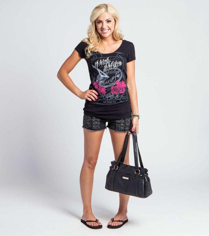 Metal Mulisha Darkness Falls Black T Shirt Womens Ladies Girls Short
