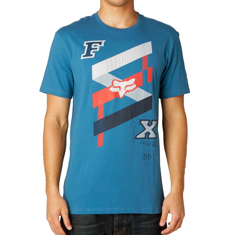 Design t shirt motocross - Fox Racing Podium Bound Ss Tee T Shirt Mens Blue Motocross Design 14818 305