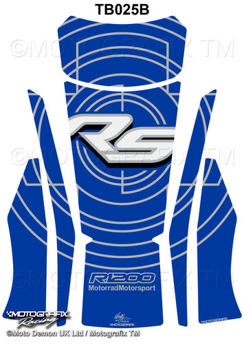 BMW R1200RS 2015 2016 Blue Motorcycle Tank Pad Protector Motografix 3D Gel TB025B