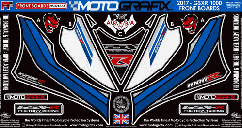 Suzuki GSXR 1000 / R 2017 18 Motorcycle Front Fairing Paint Protector / Chip Protection NS024BBK