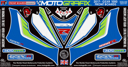 Suzuki GSXR 1000 / R 2017 18 Motorcycle Front Fairing Paint Protector / Chip Protection NS024MGP