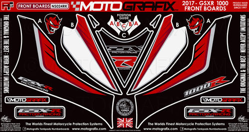 Suzuki GSXR 1000 / R 2017 18 Motorcycle Front Fairing Paint Protector / Chip Protection NS024RK