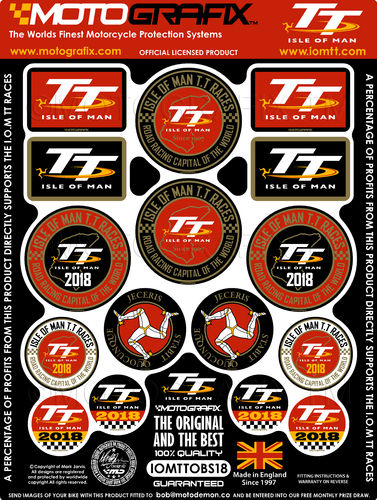 Isle Of Man TT Races IOM TT 2018 Official Licensed 3D Gel Badge Decal Sticker Kit IOMTTOBS18