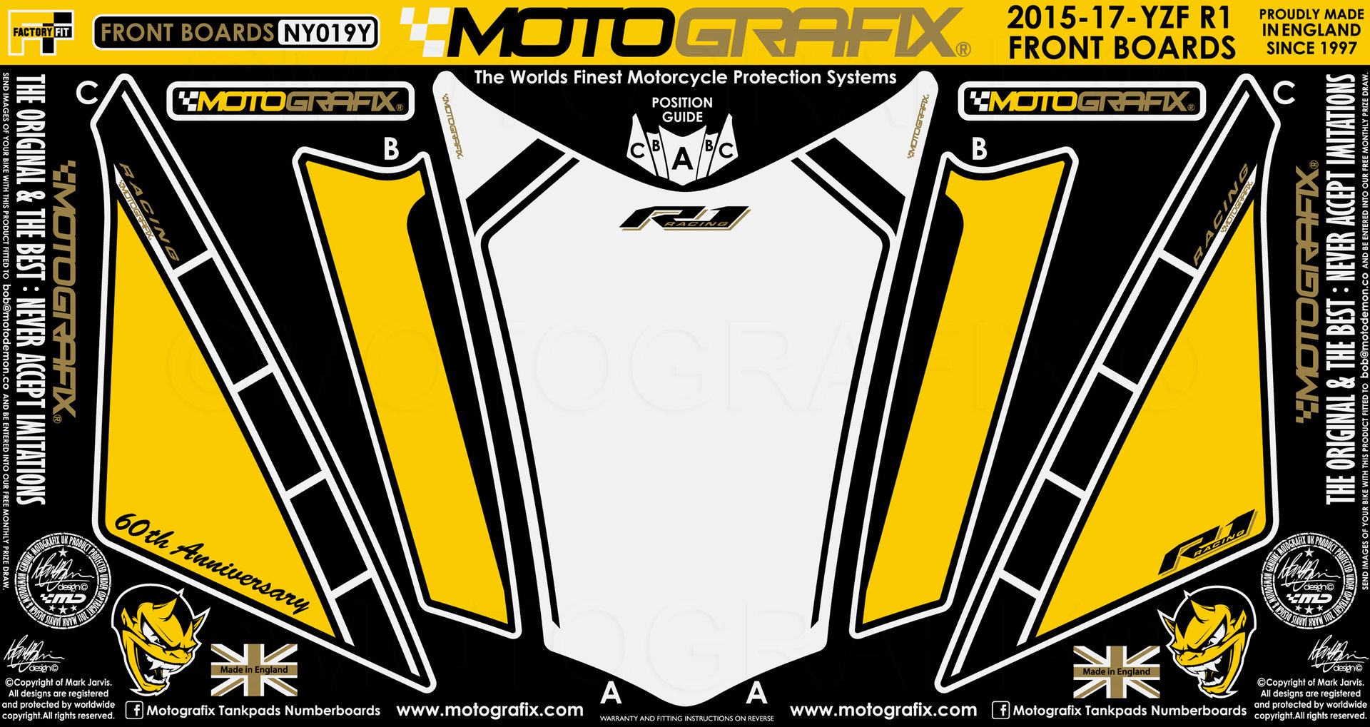 Yamaha R1 R1M 2015 16 17 Black Motorcycle Tank Pad Motografix 3D Gel Protector
