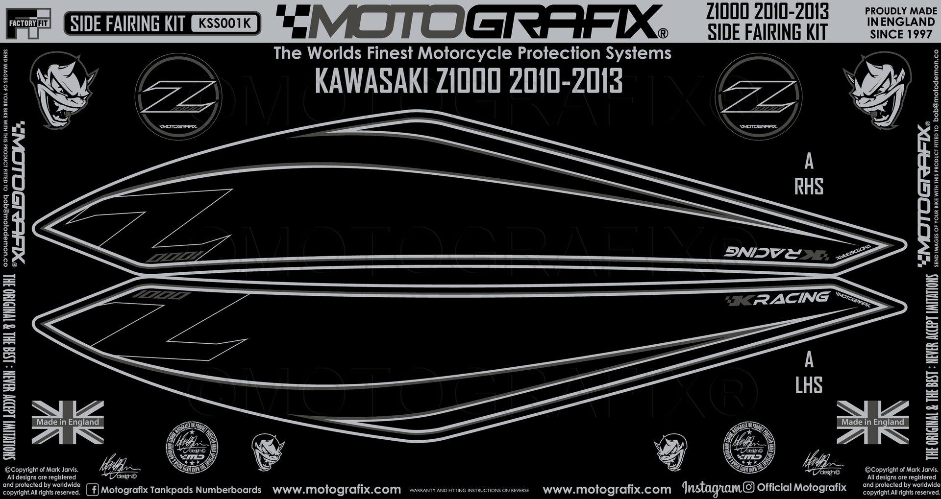 Kawasaki Z1000 2010 11 12 13 Tank Knee Pad Number Board Motografix Gel Protector