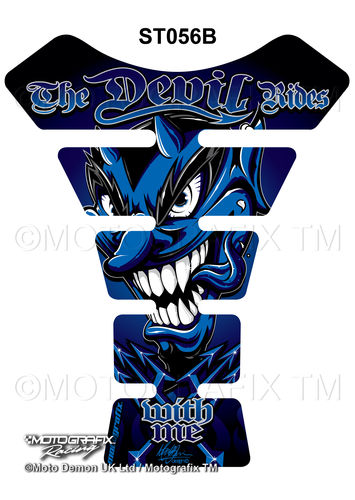 Devil Rides With Me Blue Motorcycle Tank Pad Protector Motografix 3D Gel ST056B