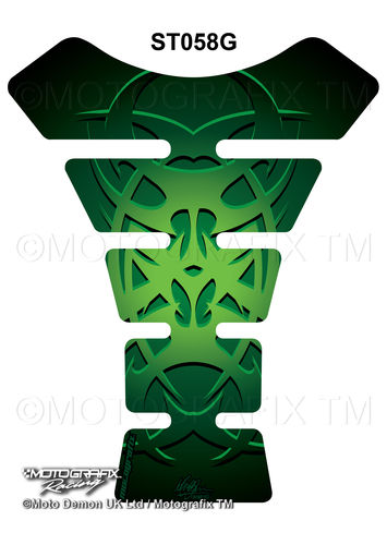 Celtic Tribal Tattoo Green Motorcycle Tank Pad Protector Motografix 3D Gel ST058G