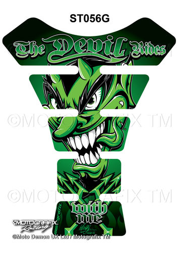 Devil Rides With Me Green Motorcycle Tank Pad Protector Motografix 3D Gel ST056G