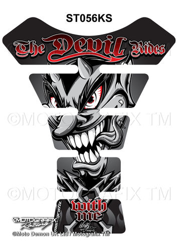 Devil Rides With Me Silver / Black Motorcycle Tank Pad Protector Motografix 3D Gel ST056KS