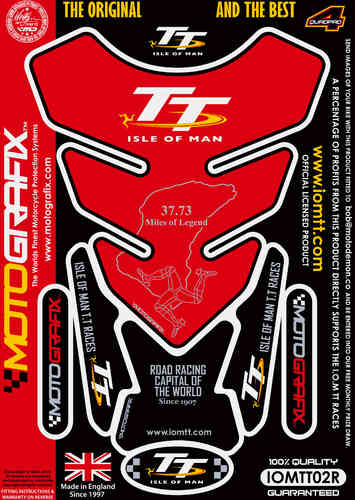 Isle Of Man TT Races Official Licensed Red Motorcycle Tank Pad Protector Motografix 3D Gel IOMTT02R