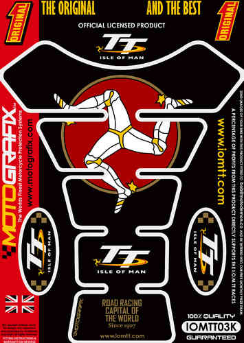 Isle Of Man TT Races Official Licensed Black Motorcycle Tank Protector Motografix 3D Gel IOMTT03K