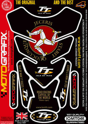 Isle Of Man TT Races Official Licensed Black Motorcycle Tank Protector Motografix 3D Gel IOMTT04K