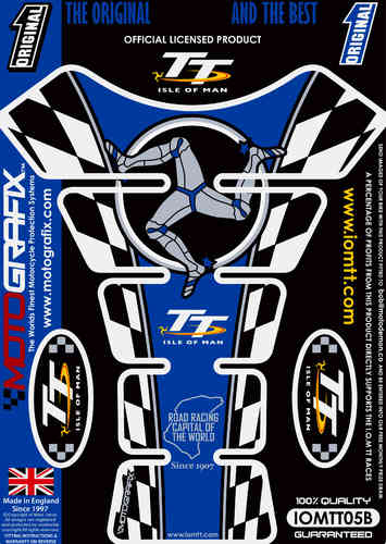 Isle Of Man TT Races Official Licensed Blue Motorcycle Tank Protector Motografix 3D Gel IOMTT05B