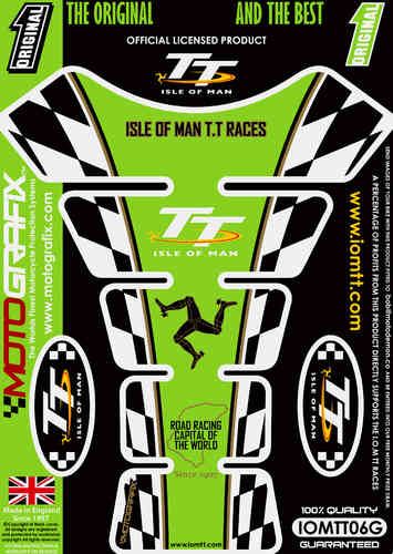 Isle Of Man TT Races Official Licensed Green Motorcycle Tank Protector Motografix 3D Gel IOMTT06G