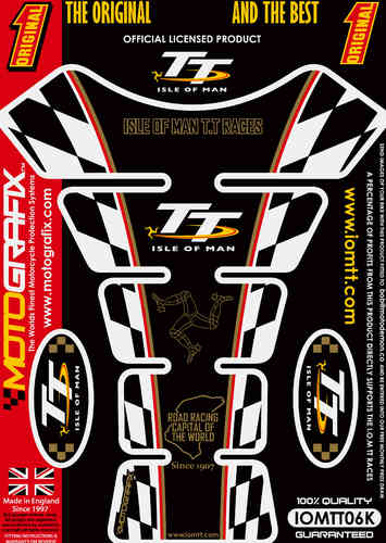 Isle Of Man TT Races Official Licensed Black Motorcycle Tank Protector Motografix 3D Gel IOMTT06K