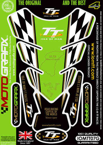 Isle Of Man TT Races Official Licensed Green Motorcycle Tank Protector Motografix 3D Gel IOMTT07G