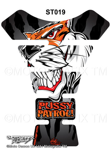 Pussy Patrol Universal Street Style Motorcycle Tank Pad Protector Motografix 3D Gel ST019