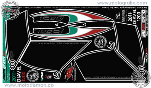 Ducati Diavel 1200 2011 Motorcycle Tank / Knee Section Paint Protector KD007K