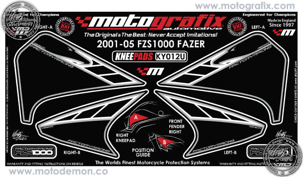 Yamaha Fzs 1000 Fazer 2001 2005 Motorcycle Tank Knee Section Paint Protector Ky012u