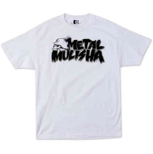 Metal Mulisha Brush t shirt mens White Short Sleeve Tee with Graffiti Print
