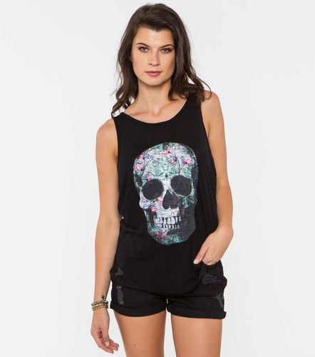 Metal Mulisha Comeback Tank Floral Skull Design T shirt womens ladies girls Tee SP6711015 BLK