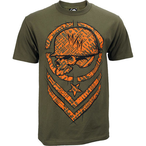 Metal Mulisha Shred T Shirt Mens Military Green Tee FMX Clothing / Apparel M145S18107 MGN
