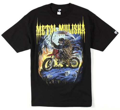 Metal Mulisha Bike Reaper Grim Skull T Shirt Mens Black Tee MX FMX Clothing M145S18121 BLK