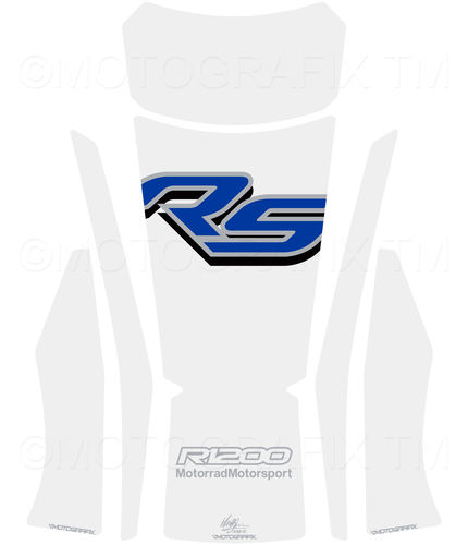 BMW R1200RS 2015 2016 White Blue Motorcycle Tank Pad Protector Motografix 3D Gel TB025WB