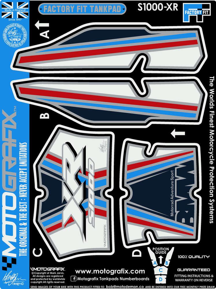 BMW S1000XR 2015 2016 2017 Blue Motorcycle Tank pad Motografix 3D Gel Protector