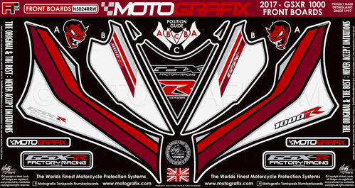 Suzuki GSXR 1000 / R 2017 18 Motorcycle Front Fairing Paint Protector / Chip Protection NS024RRW