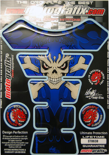 Skull & Crossbones Blue Demon Motorcycle Tank Pad Protector 3D Gel Paint Protection ST063B S1