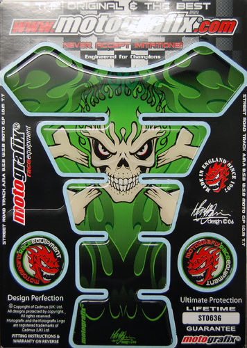 Skull & Crossbones Green Demon Motorcycle Tank Pad Protector 3D Gel Paint Protection ST063G S1
