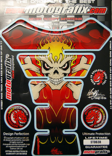 Skull & Crossbones Red Demon Motorcycle Tank Pad Protector 3D Gel Paint Protection ST063R S1