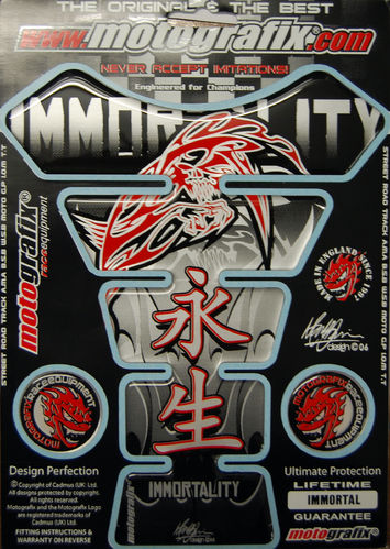 Immortality Reaper / Demon Silver Motorcycle Tank Pad Protector 3D Gel Paint Protection Immortal S1