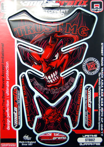 Trust Me Red Devil Demon Lucifer Motorcycle Tank Pad Protector 3D Gel Paint Protection ST082 S1