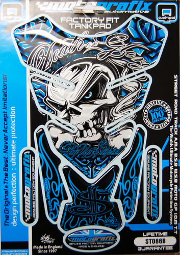 Skull & Crossbones Blue Demon Motorcycle Tank Pad Protector 3D Gel Paint Protection ST086B S1